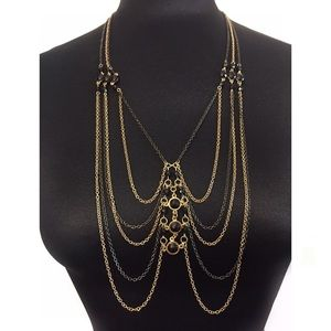 BCBGENERATION NECKLACE GOLD BLACK GEM LAYERED